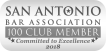 Langley and Banack is apart of San Antonio Bar Association 100 Club Member, Committed to Excellence 2018